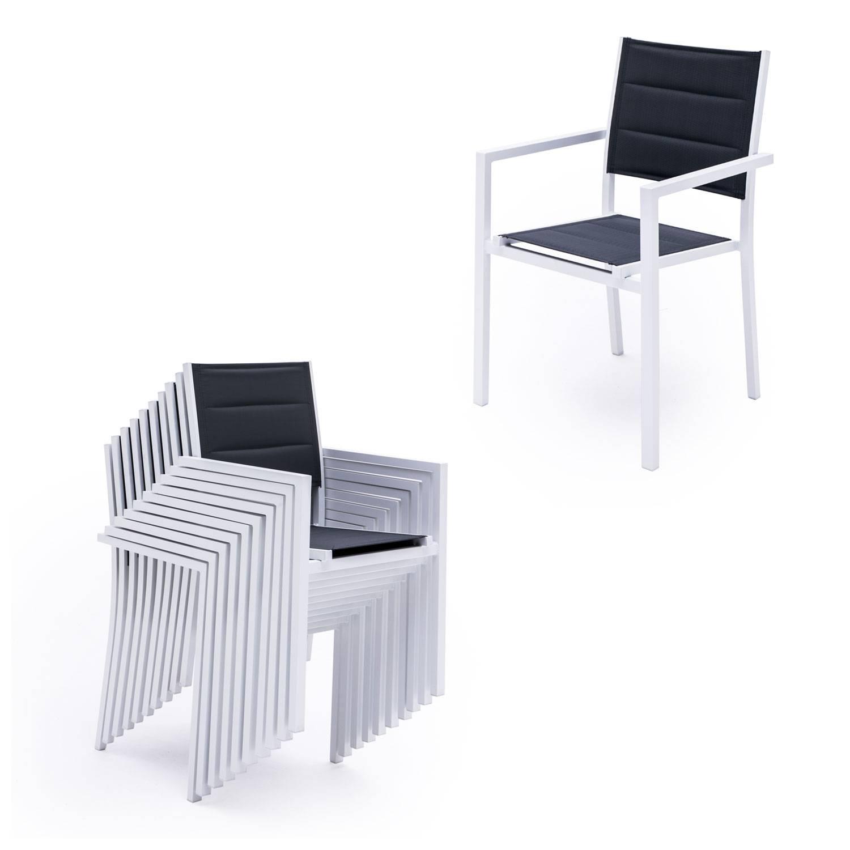 salon de jardin lampedusa extensible en textilene gris 10 places aluminium blanc