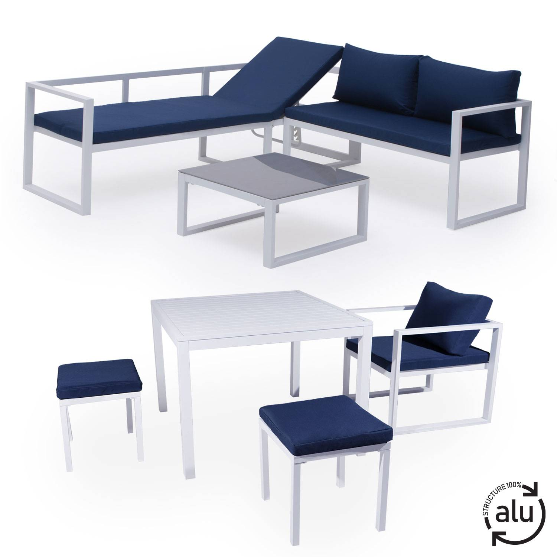 salon de jardin modulable ibiza en tissu bleu 7 places aluminium blanc
