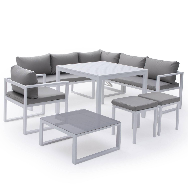 salon de jardin modulable ibiza en tissu gris 7 places aluminium blanc