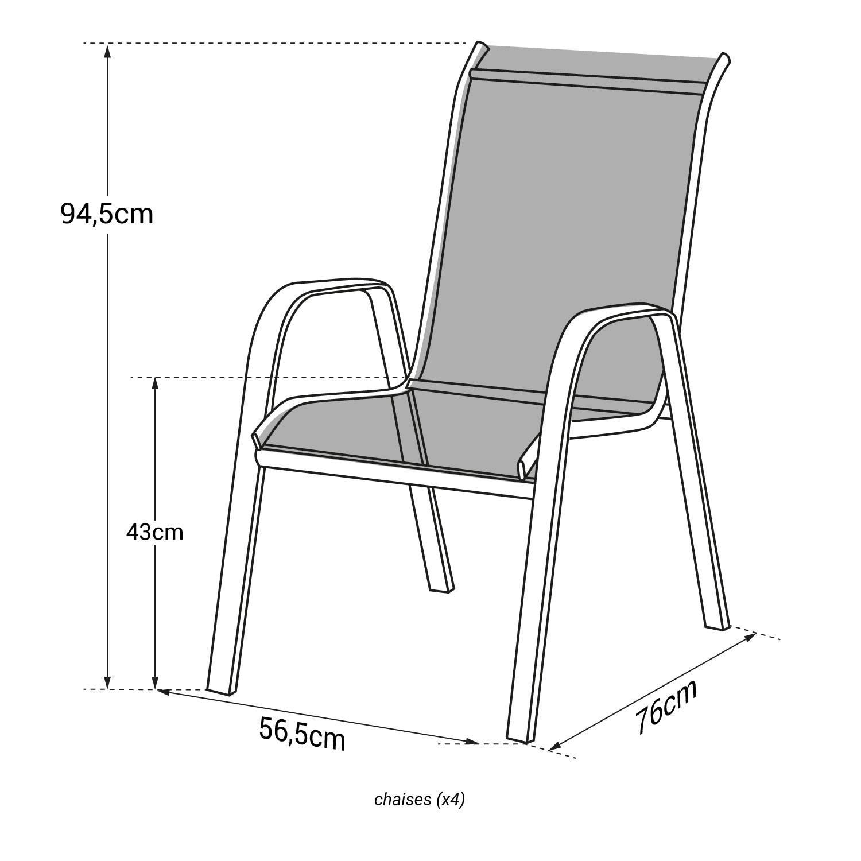 lot de 4 chaises marbella en textilene bleu aluminium blanc