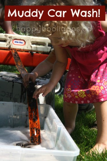 Muddy Car Wash activity for toddlers and preschoolers