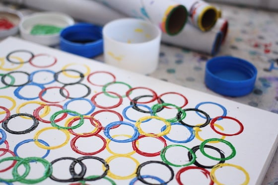 circles stamped on canvas in Olympic ring colours