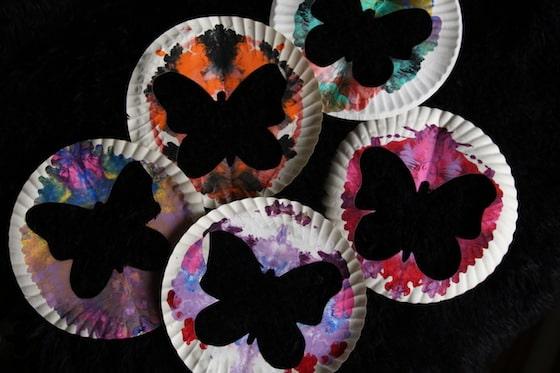 paper plate butterfly silhouette art