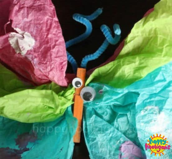 preschool butterfly craft with tissue paper and clothespin