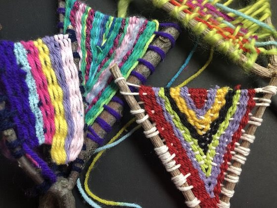close up 4 colourful stick weaving projects