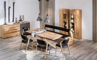 Stuhlgruppe V Alpin in Leder schwarz/Eiche Altholz online ...