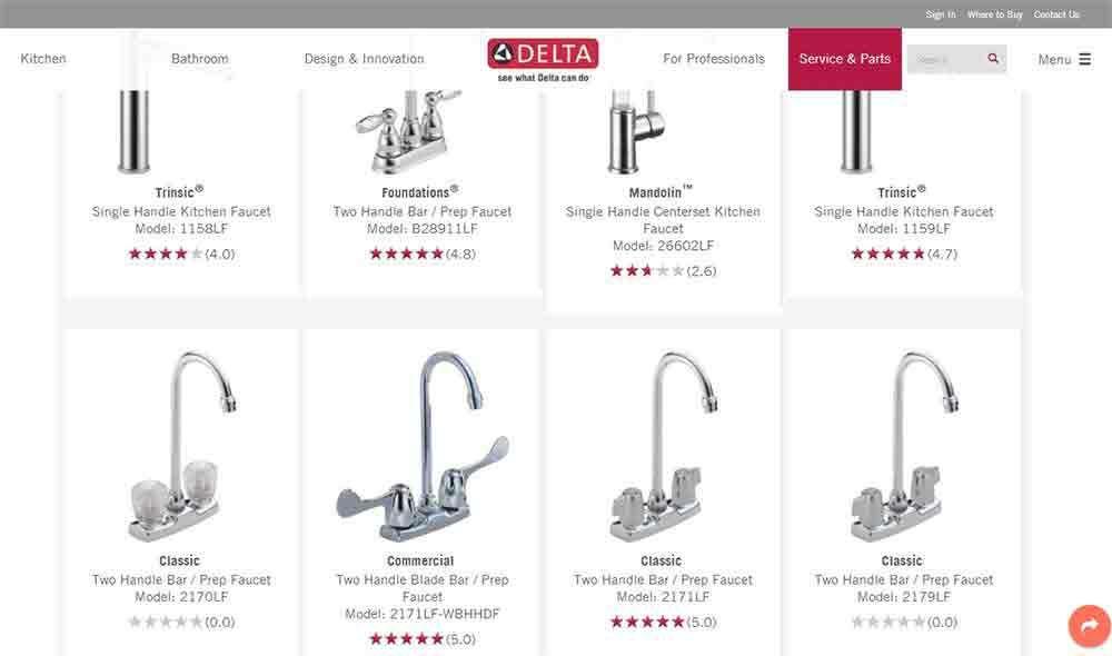delta faucet s model number