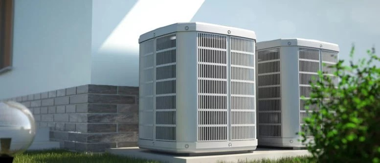 heat pumps in front of the house