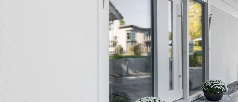 white front door with glass insert