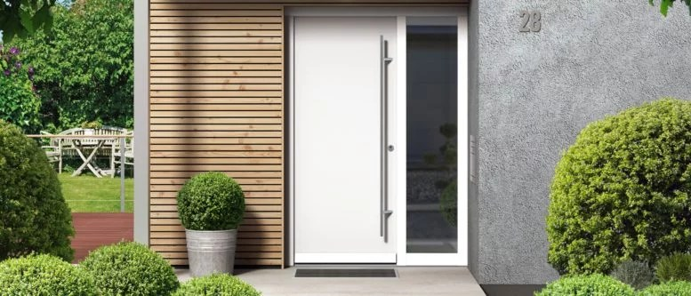 white entrance door with glass insert