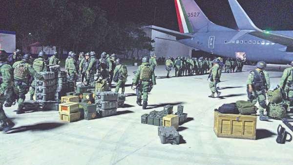 REFUERZOS. Elementos de las Fuerzas Especiales del Ejército Mexicano llegaron ayer a Culiacán. Foto: Especial.