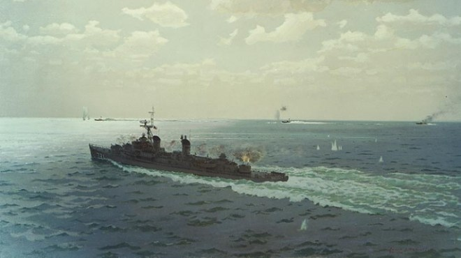 Painting depicting engagement between USS Maddox and North Vietnamese torpedo boats on August 2, 1964