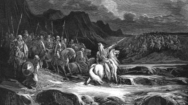 Jehudah Maccabaeus leading his Jewish army, the Maccabees) into battle. (Credit: Ann Ronan Pictures/Getty Images)