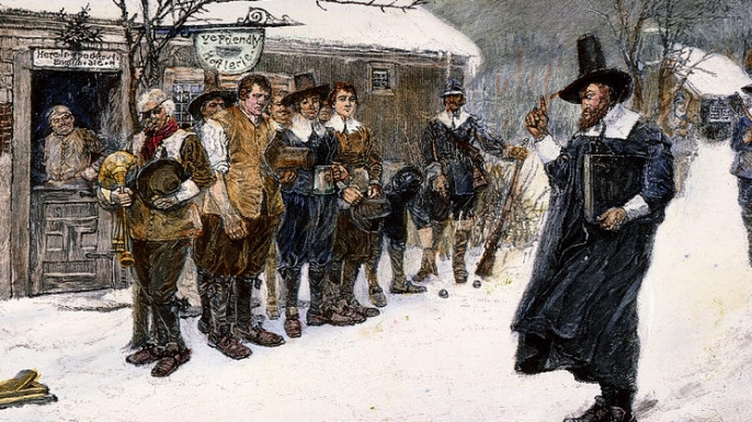 A Puritan governor disrupting Christmas celebrations.