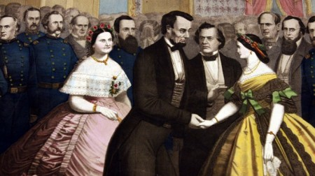 Hand colored print of Lincoln greeting people with Mary Todd Lincoln at left. (Credit: The Washington Post/Getty Images)