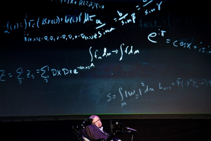 "Professor Stephen Hawking giving a lecture entitled: ""A Brief History of Mine"" during the Starmus Festival on the Spanish Canary island of Tenerife on June 29, 2016. (Credit: Desiree Martin/AFP/Getty Images)"