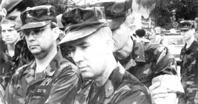 Brigadier Gen. Michael Hayden (left, with glasses), US Marine Corps Gen. David Mize (front and center), and US Marine Corps Lt. Gen. Edward Hanlon Jr. (behind Mize) in Gornji Vakuf, Bosnia, on September 4, 1994.