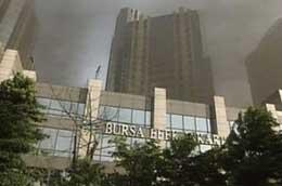 Smoke rising from the bombed Jakarta stock exchange.
