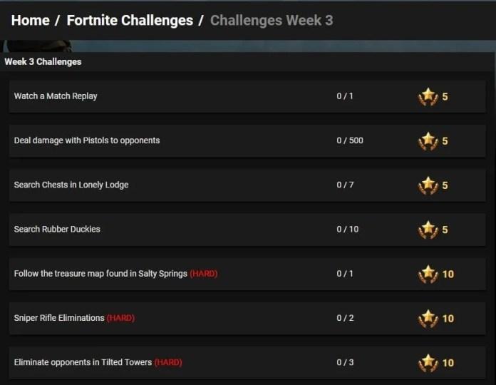 Desafíos semana 3 fortnite