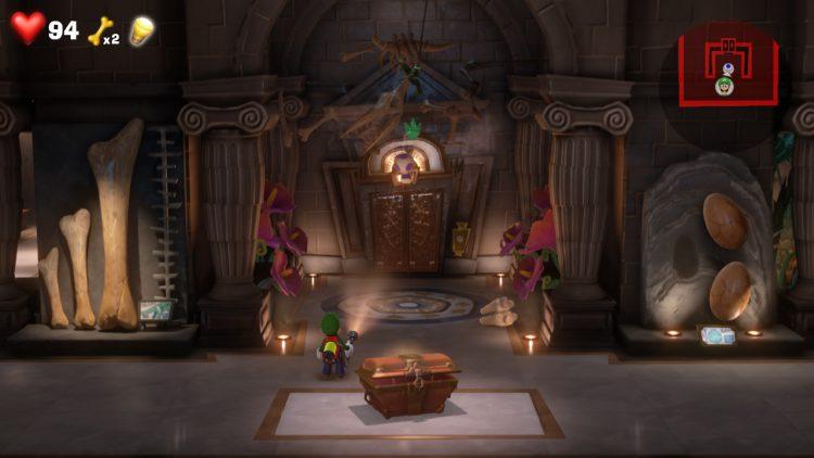 Green Gem Location Bones Above Elevator 750x422 - Luigi's Mansion 3 – Guida: dove trovare tutte le gemme dei piani 9 e 10