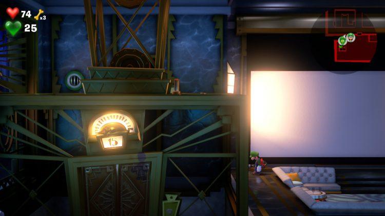 Green Gem Location Hidden Cabinet in Lounge 750x422 - Luigi's Mansion 3 – Guida: dove trovare tutte le gemme del piano 15