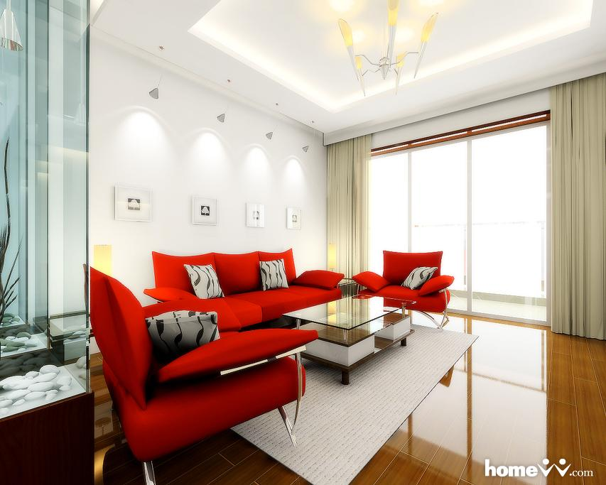 Red decor living rooms