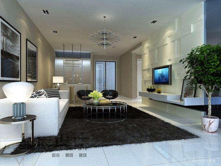 Contemporary Living Room Neutral Shag Rug