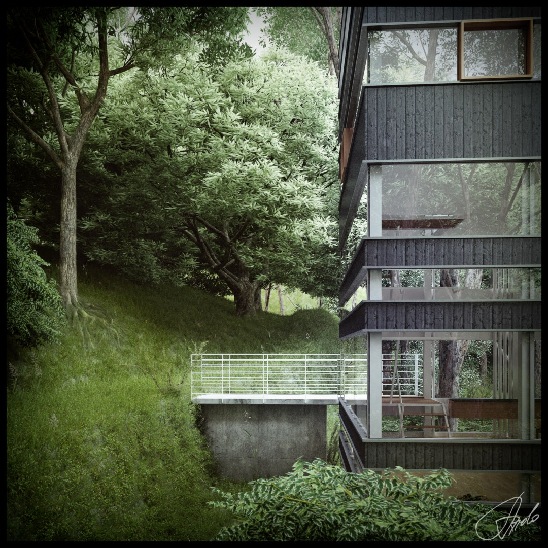 Japanese House In The Forest Visualized
