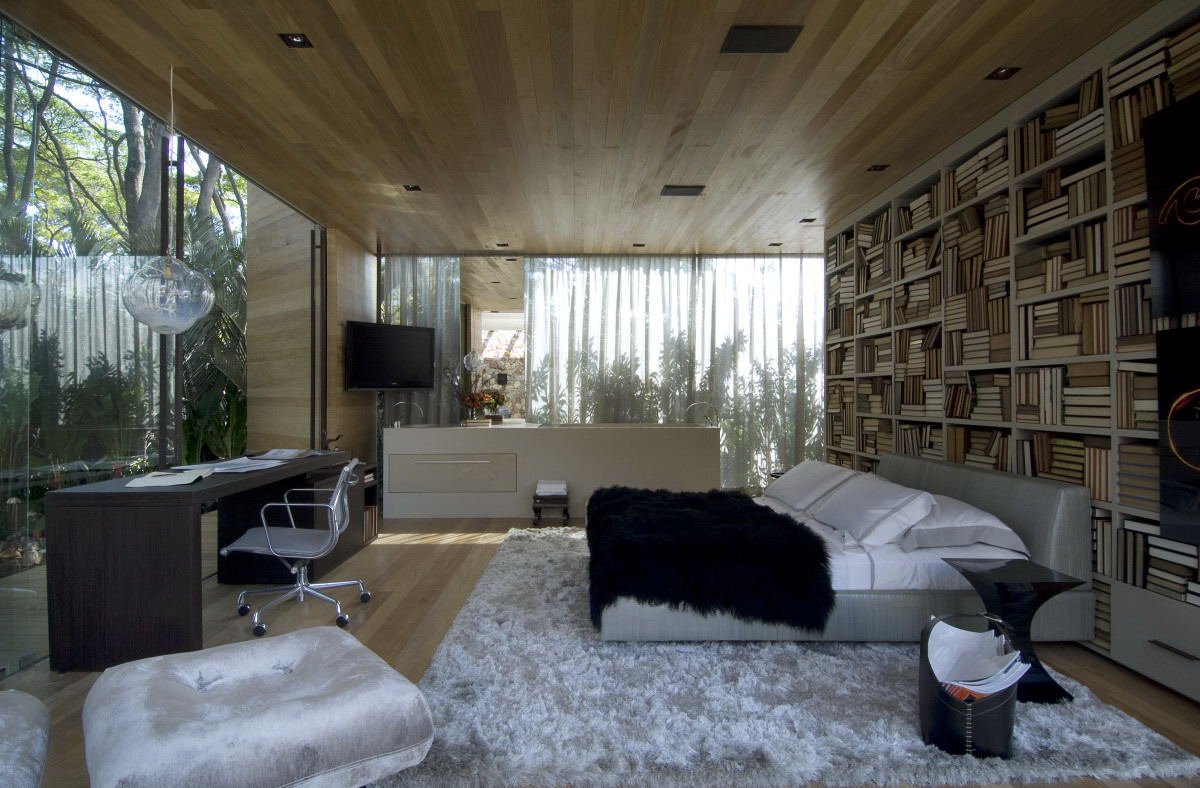 bedroom with glass walls and wood ceiling | interior design ideas.