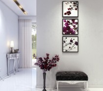 mod-and-classic-hallway-with-purple-accents-210x185 Black, White & Beige Apartment For The Fashionista