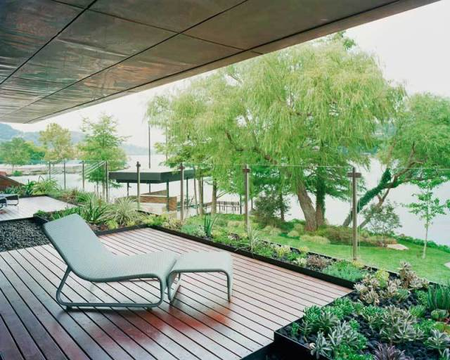 Modern And Green Balcony With Lake Viewinterior Design Ideas