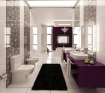 purple-black-and-white-graphic-print-bathroom-210x185 Black, White & Beige Apartment For The Fashionista