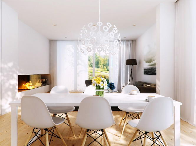 Statement Lighting White Dining Area Room with White Starburst Chandelier Modern
