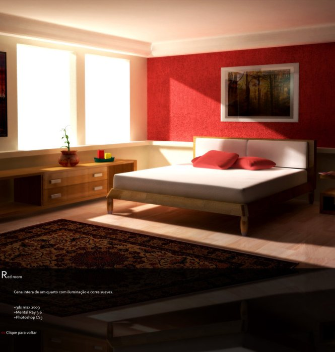 Red Bedroom Wall Decorating With Patchwork Pattern And Matching Pillows