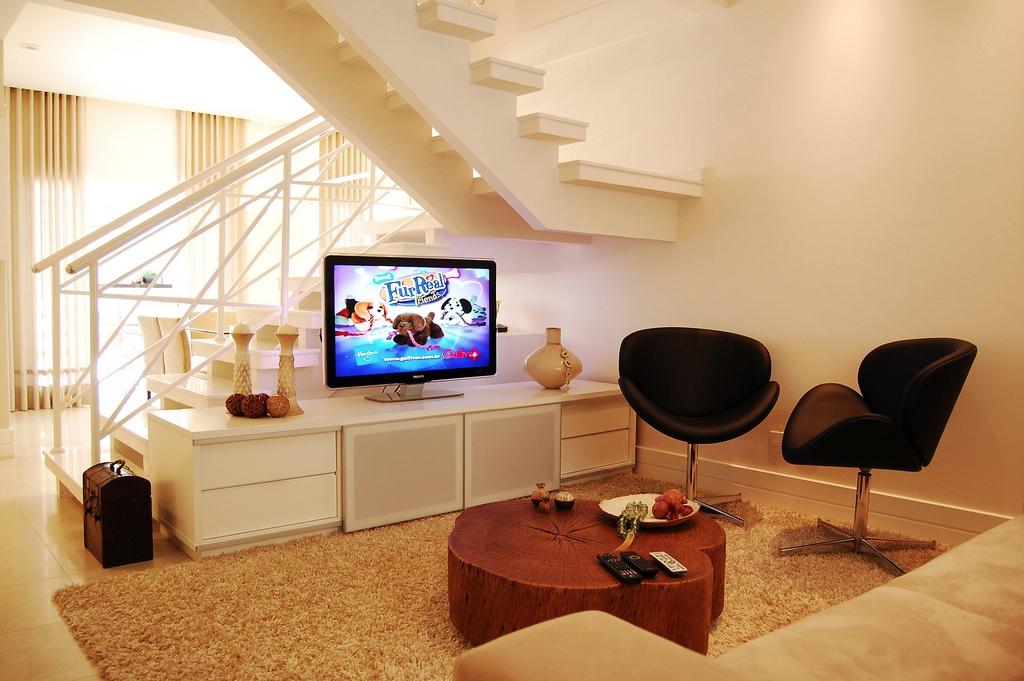 14 Neutral Living Room Modern Staircase Interior Design