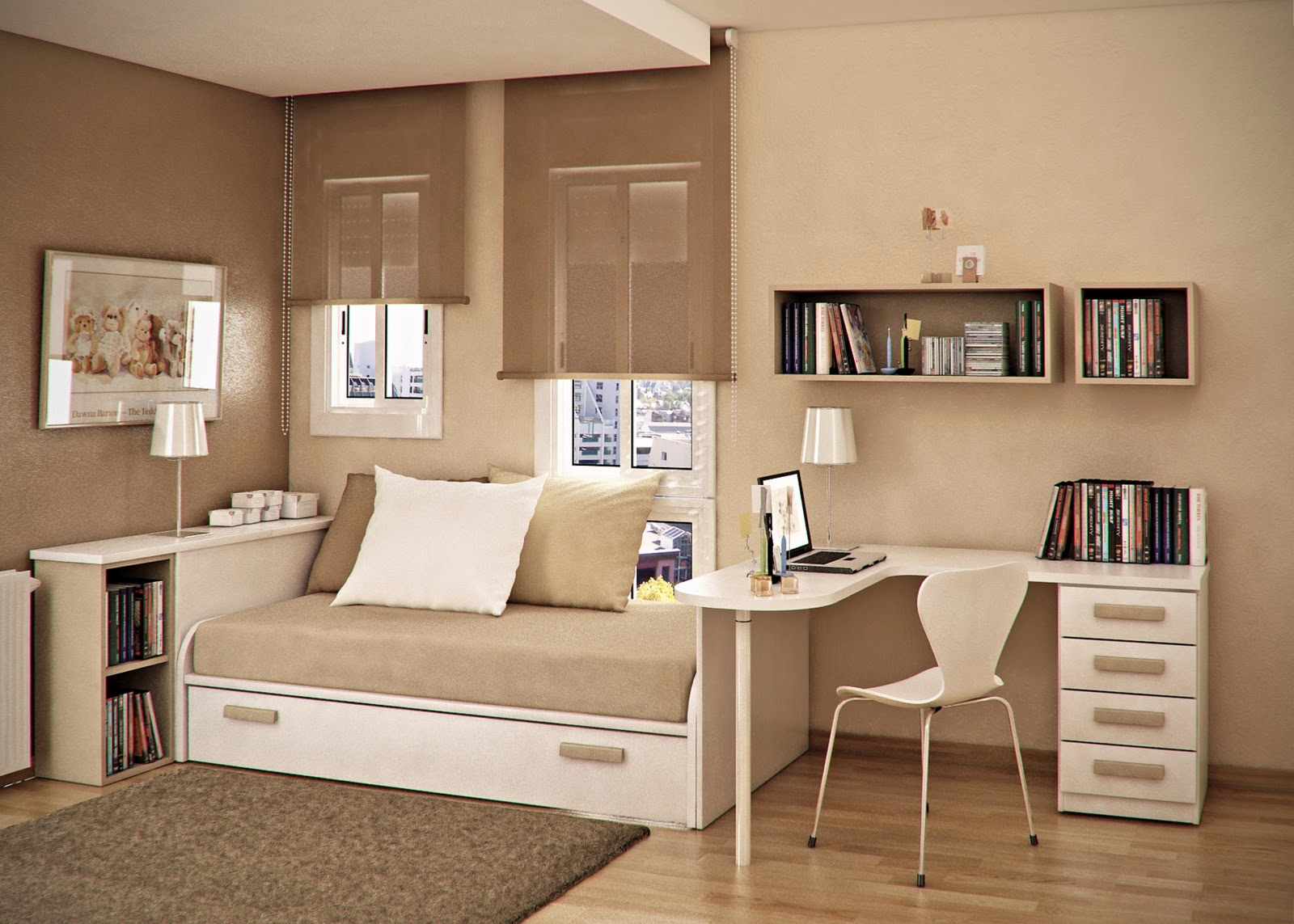 Taupe beige kids room | Interior Design Ideas. on Beige Teen Bedroom  id=36854
