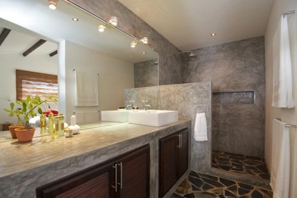 Concrete vanity unit Mediterranean style bathroom