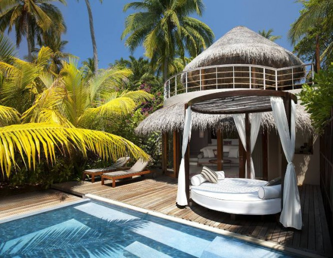 There are several stunning designs in the holiday haven, including a bi-level Beach Oasis where you can venture beyond the decks onto your own private sweep of pristine beach. After a tough day of lounging under a cloudless sky you can retire to a bathtub under the stars in the open roofed bathing area, or splash out in the rainforest shower.