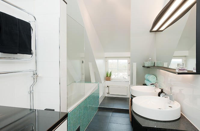 White aqua bathroom design mosaic tiles