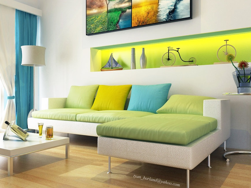 Modern White Green Aqua Blue Living Room Interior Design Ideas Part 71