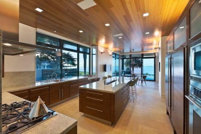 walnut slab front kitchen units