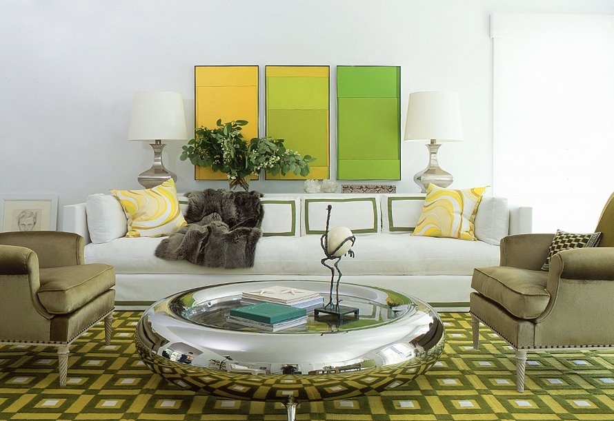 White Green Yellow Chic Living Room Interior Design Ideas Part 57