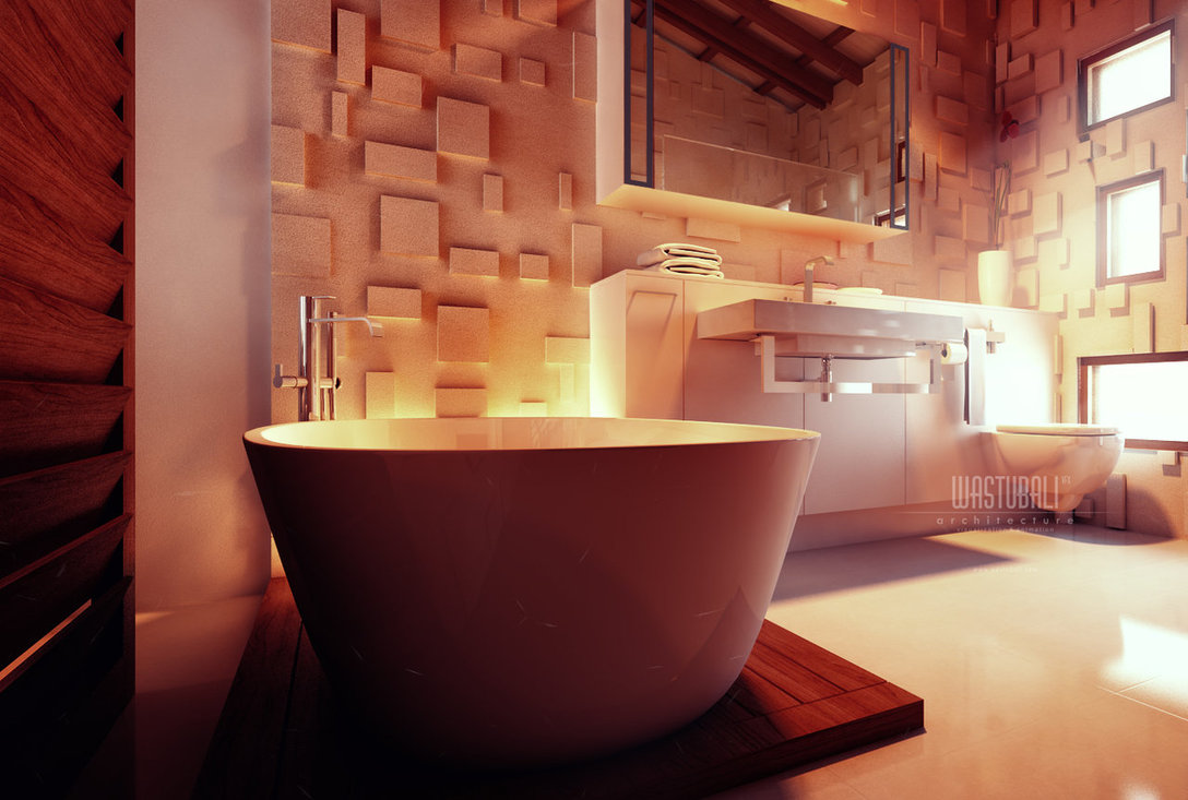 Contemporary Bathroom Textured Wall Treatment Interior