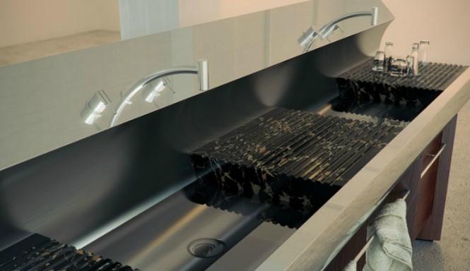 Curved kitchen sink unit