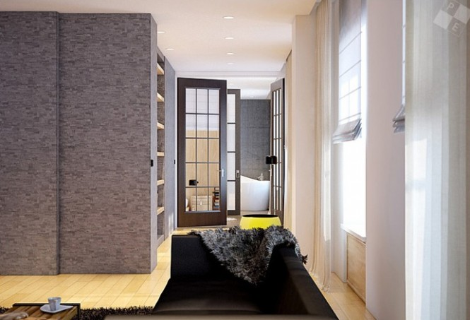 Glass doors allow a corridor of light to flow unobstructed throughout the kitchen, dining room, living room, hall, office and bedroom.