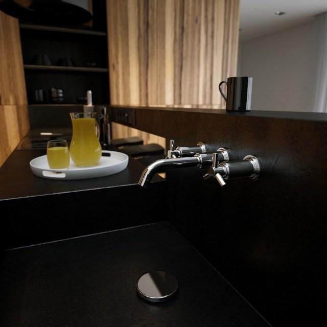 Black corian kitchen sink worktop