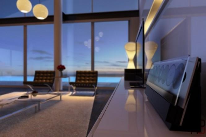 Black white living room scheme