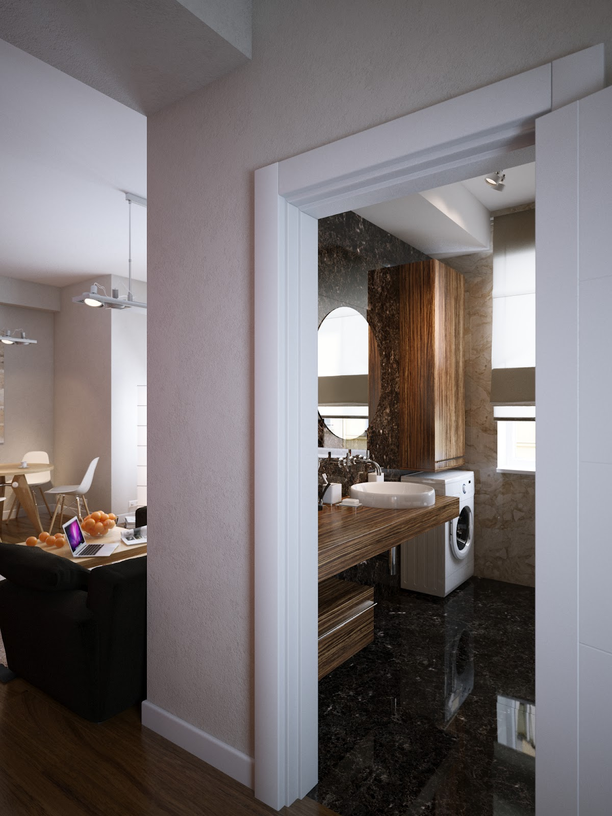 Walnut Vanity Unit Brown Marble Bathroom Floor Interior Design Ideas
