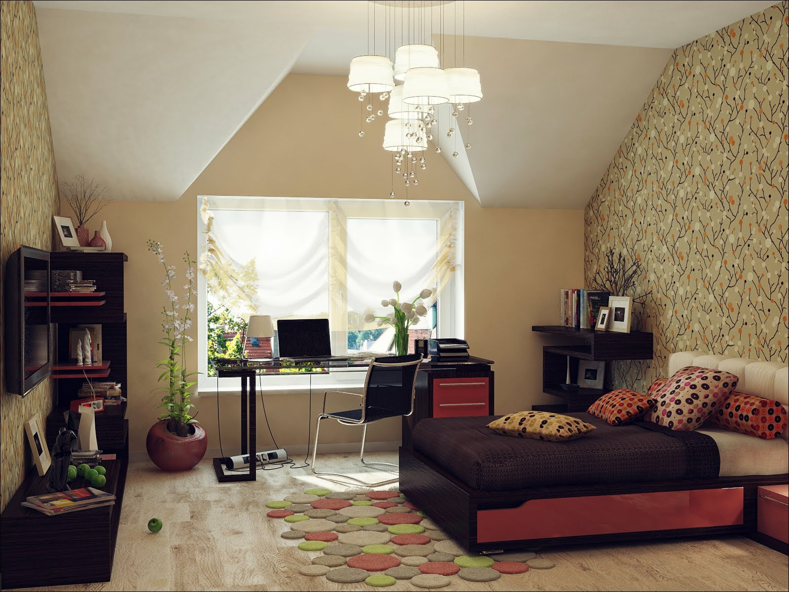 Red black beige bedroom sloped ceiling | Interior Design ... on Beige Teen Bedroom  id=93793