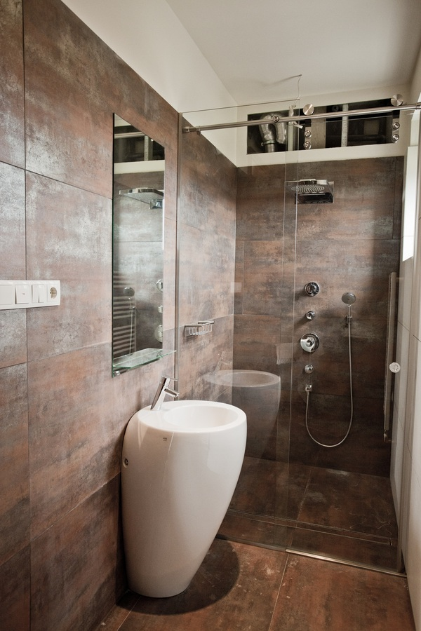 Brown Bronze Bathroom Tile Interior Design Ideas